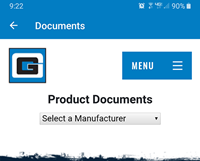 mobile app documents select manufacturer